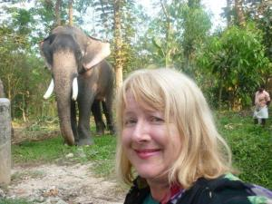 Roslyn with an Indian elephant (with tusks intact)